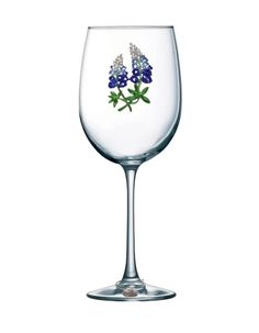 Queens' Jewels Blue Bonnet Jeweled Stemmed Wine Glass by Cork Pops Queens Jewels, Gifts For Wine Lovers, Blue Bonnets, White Wine, Cork, Wine Glass, Alcoholic Drinks, Glasses, Tableware