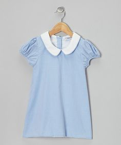 This Blue Gingham Puff-Sleeve Dress - Infant, Toddler & Girls is perfect! #zulilyfinds