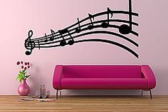 love the music notes on the wall Music Wall Decor, Music Wall Art, Diy Wall Decor, Home Decor, Man Cave Wall Decals, Purple Zebra, Cool Couches, Vinyl Wall Stickers, Bedroom Themes
