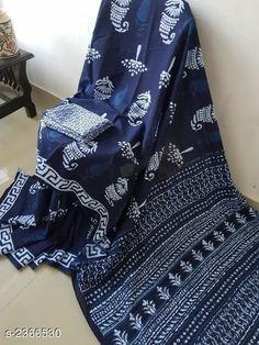 🌺🌺🌺 Exclusive summer🌞🌴🏄🎇 collection 🌸Soft chandari silk saree with blouse 🌸Hand block printed Good quality👌🏻 Kurta Designs, Cotton Saree Blouse Designs, Dress Designs, Indigo Saree, Blue Saree, Saree Dress, Sari, Formal Saree, Modern Saree