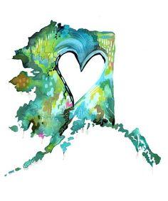 Alaska Love Print State Wall Art Watercolor by thewheatfield Alaska Tattoo, North To Alaska, Visit Alaska, Living In Alaska, Acrylic Artwork, Thing 1, Watercolor Art, Etsy, Drawings