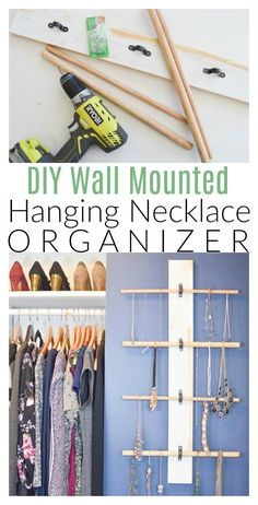 Jewelry Organizer Inside: How to make your own wall mounted Hanging Necklace Organizer using wooden dowels. - Inside: How to make your own wall mounted Hanging Necklace Organizer using wooden dowels. Jewelry Wall, Jewelry Organizer Wall, Wall Organization, Jewelry Armoire, Jewellery Storage, Jewellery Display, Jewelry Organization, Jewelry Box, Jewelry Holder
