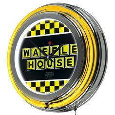 "14.5"" WAFFLE HOUSE CHECKERED CHROME NEON CLOCK"