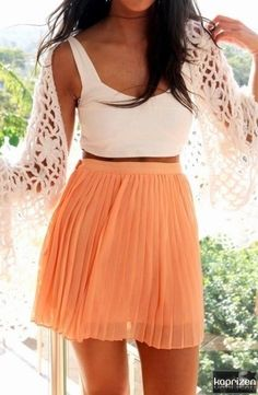 The peach chiffon skirt is cute, but the crochet shawl? Cutest! Not only are shawls the new hot thing, but they are comfy and can be worn as a beach over up, scarf, or skirt wrap-around!