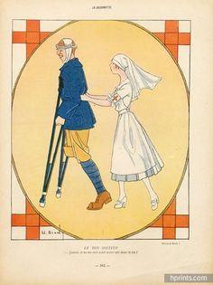 """Elisabeth Branly, 1916. Nurse, """"LE BON SOUTIEN"""". World War I. La Baïonnette."""