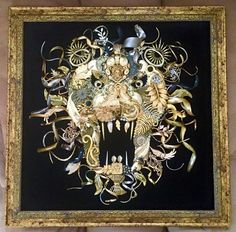Handmade upcycled vintage jewelry lion framed artwork