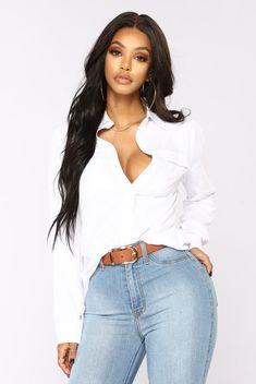 577cd34a93ee4e You Better Work Shirt II - White Cami Crop Top, Crop Tops, Ruffle Blouse