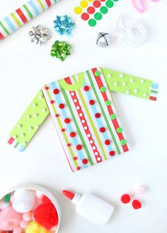 Wrap your presents to look like ugly Christmas sweaters this year!