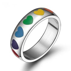 e6a507f1200b Stainless Steel Rainbow Coloured Heart Ring Stainless Steel Rings