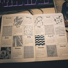 2019 Calendar! Patterns are beautiful❤ Takes long time but definitely worth it! : bulletjournal