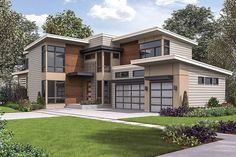 You can have it all in this spacious Contemporary house plan that is loaded with amenities. Contemporary House Plans, Modern House Plans, Contemporary Decor, Architectural Design House Plans, Architecture Design, Guest Bedroom Decor, Master Bedroom, Master Suite, Porch Kits
