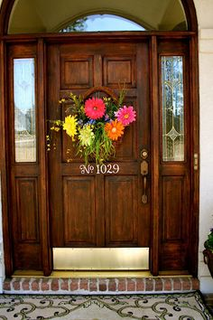 Wood grain door with a spring basket...
