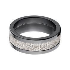 Black Zirconium Men's Meteorite Inlay Ring