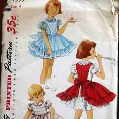 1950s Vintage Girls Dress Pattern With Ruffle Trimmed Pinafore Apron Simplicity 1399 SZ4. $8.75, via Etsy.