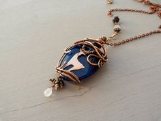 Wire copper pendant Deer wire jewelry Blue by UrsulaJewelry