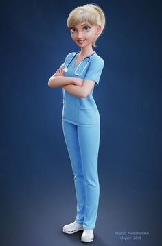 Nurse Megan on Behance 3d Model Character, Female Character Design, Character Modeling, Character Art, Nurse Cartoon, Cute Cartoon Girl, Cartoon Art, Nurse Drawing, Nurse Art