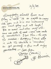 George Harrisons note on ukuleles