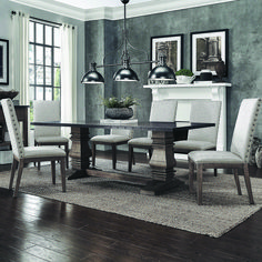 Amazing rustic dining room sets canada for 2019 Cheap Dining Room Sets, Diy Dining Room Table, Luxury Dining Room, Dining Room Lighting, Dining Set, Rustic Dining Chairs, Outdoor Dining, Dining Rooms, Farmhouse Table Plans