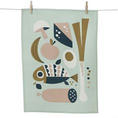 The charming Grocery kitchen towel comes from the Danish brand Ferm Living and has a retro pattern illustrated by Ingela P Arrhenius.