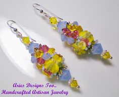 Bright Yellow Floral Lampwork Earrings Blue by ariesdesignstoo
