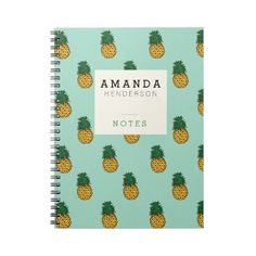 Pineapples & Mint Notebook (230 MXN) ❤ liked on Polyvore featuring home, home decor, stationery, fillers, accessories, items, school and books