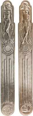 A Pair of Art Deco Silvered Metal Door Panels 35-1/8 inches high x 4-1/2 inches wide (89.2 x 11.4 cm)