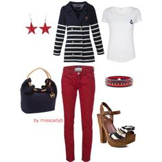 A fashion look from July 2012 featuring white t shirt, red jeans and high heels sandals. Browse and shop related looks. Nautical Outfits, Nautical Style, Nautical Fashion, Red Outfits For Women, Clothes For Women, Homecoming Outfits, Red Jeans, Autumn Winter Fashion, Style Me