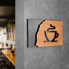 Door Signage, Wayfinding Signage, Signage Design, Wooden Wall Art, Diy Wall Art, Cafe Shop Design, Custom Wood Signs, Environmental Graphic Design, Cool Doors
