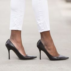 Black heels, white cropped jeans. Beautiful contrast