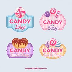 Candy shop logos collection for companies Free Vector Candy Theme, Candy Party, Logo Louis Vuitton, Logo Dulce, Candy Icon, Sweet Logo, Candy Logo, Poster Art, Lettering Styles