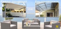 Though the fabric shade would be cheaper & easy to install the roof, polycarbonate cover could resist the harmful UV and have better weather resistance and longer lifespan compared with the fabric shade.   #patioidea #bestpatio #patiocover #porch #awning #garden #rest #gazebo #canopy   https://www.sunshielder.com/…/metal-patio-covers-aluminum-…/
