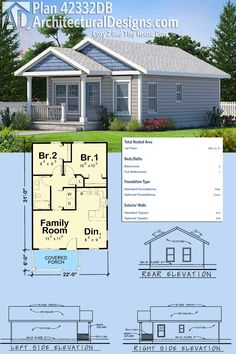 Architectural Designs Cozy 2 Bed Tiny House Plan gives you 682 square feet of heated living space plus a covered porch perfect for your rocking chair. Ready when you are. Where do YOU want to build? Architecture Design, Plans Architecture, Architecture Panel, Small Room Design, Tiny House Design, Cottage House Plans, Cottage Homes, The Plan, How To Plan