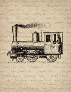 Retro Steam Locomotive - Printable Graphics Digital Collage Sheet Image Download Iron on Transfer Fabric Paper Cushion Tote Towels Tr104 burlap transfer print download black vintage retro old scrapbook iron on clip art printable graphic supplies handmade design Digital Collage Sheet paper clothing tote t shirt men vehicle transport machine locomotive steam train rattler GraphicSense 1.00 USD