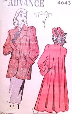 1940s Classic FILM NOIR style Swing Back Coat or Jacket Pattern ADVANCE 4643 Lovely Style Details Bust 32 Vintage Sewing Pattern