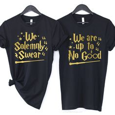 We Solemnly Swear We Are Up To No Good / Harry Potter Couple Shirts | The FMLY shop Harry Potter Couples, Harry Potter Shirts, Harry Potter Fandom, Couple Shirts, Custom T, Bff, T Shirts For Women, Memes, Cotton