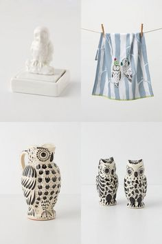 Anthropologie Owls ohhhh, Blue and White... ANNNNND OWELS!  I NEED THESE!