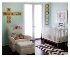 Aqua Scrabble Theme Nursery for Twins: Niki, from Paper and Cakery states that decorating the aqua scrabble theme nursery for twins, Raya and Mason, was her biggest decorating project in her
