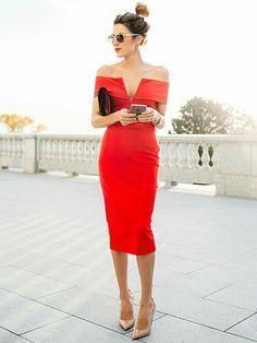 NICHOLAS Ponte Shoulder Band V Dress