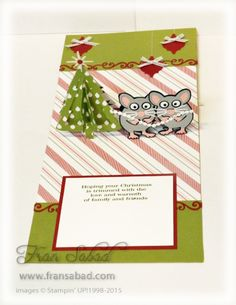 Fran Sabad using the Pop it Ups Christmas Trees Pop Stand, Merry Christmas (flourish) and Jolly the Mouse die sets by Karen Burniston for Elizabeth Craft Designs. - PIU Jolly 01 open