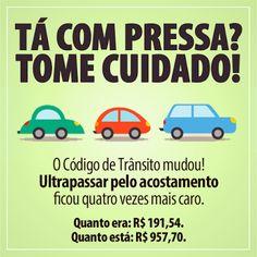 A Lei n. 12.971/14 alterou o artigo 202 do Código de Trânsito Brasileiro, aumentando a multa para motoristas que ultrapassarem pelo acostamento. O valor que era de R$ 191,54 agora passou para uma quantia bem mais amarga: R$ 957,70, ou seja, quatro vezes a mais, buscando assim punir os apressadinhos que colocam a vida das pessoas em risco.