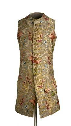 Waistcoat, 1740-1750. Silver-grey silk brocaded with exotic floral motifs.