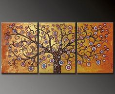 Gold Tree  Abstract oil painting for sale.  A real Oil on canvas painting only at www.judaica-art.com