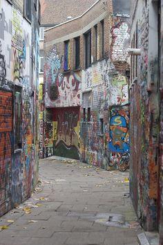 Graffiti street in Ghent (Belgium)