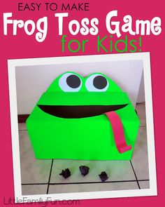 Frog Toss Game for kids! Fun carnival game, or party game for kids,  and easy to make!