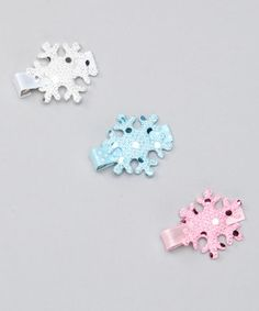 Look what I found on #zulily! Pink Poseys Bowtique Pink & Blue Sparkling Snowflake Clip Set by Pink Poseys Bowtique #zulilyfinds
