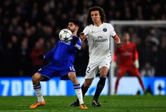 Diego Costa of Chelsea is closed down by David Luiz of PSG during the UEFA Champions League round of 16, second leg match between Chelsea and Paris Saint Germain at Stamford Bridge on March 9, 2016 in London, United Kingdom. (March 8, 2016 - Source: Mike Hewitt/Getty Images Europe)