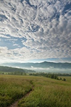 ✮ Morning clouds lend itself to a dramatic morning scene in the Cades Cove are of the Great Smoky Mountain National Park