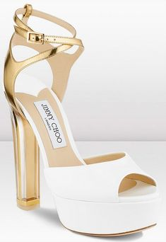 11d6d881b8d Jimmy Choo Lolita White Patent Leather Platform Sandal with Mirrored Gold  Ankle Strap New Style Shoes