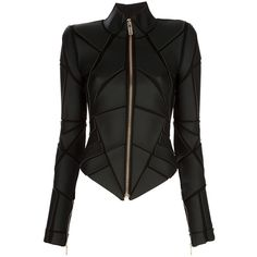 GARETH PUGH Geometric panelled jacket ($1,925) ❤ liked on Polyvore featuring outerwear, jackets, coats, tops, zip jacket, black zipper jacket, black jacket, black vegan leather jacket and panel jacket