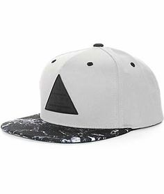 5a4a366c8a9 Cop a unique new cap with a two tone look thanks to a marble print bill on  a grey crown and a black triangle logo patch on the front.